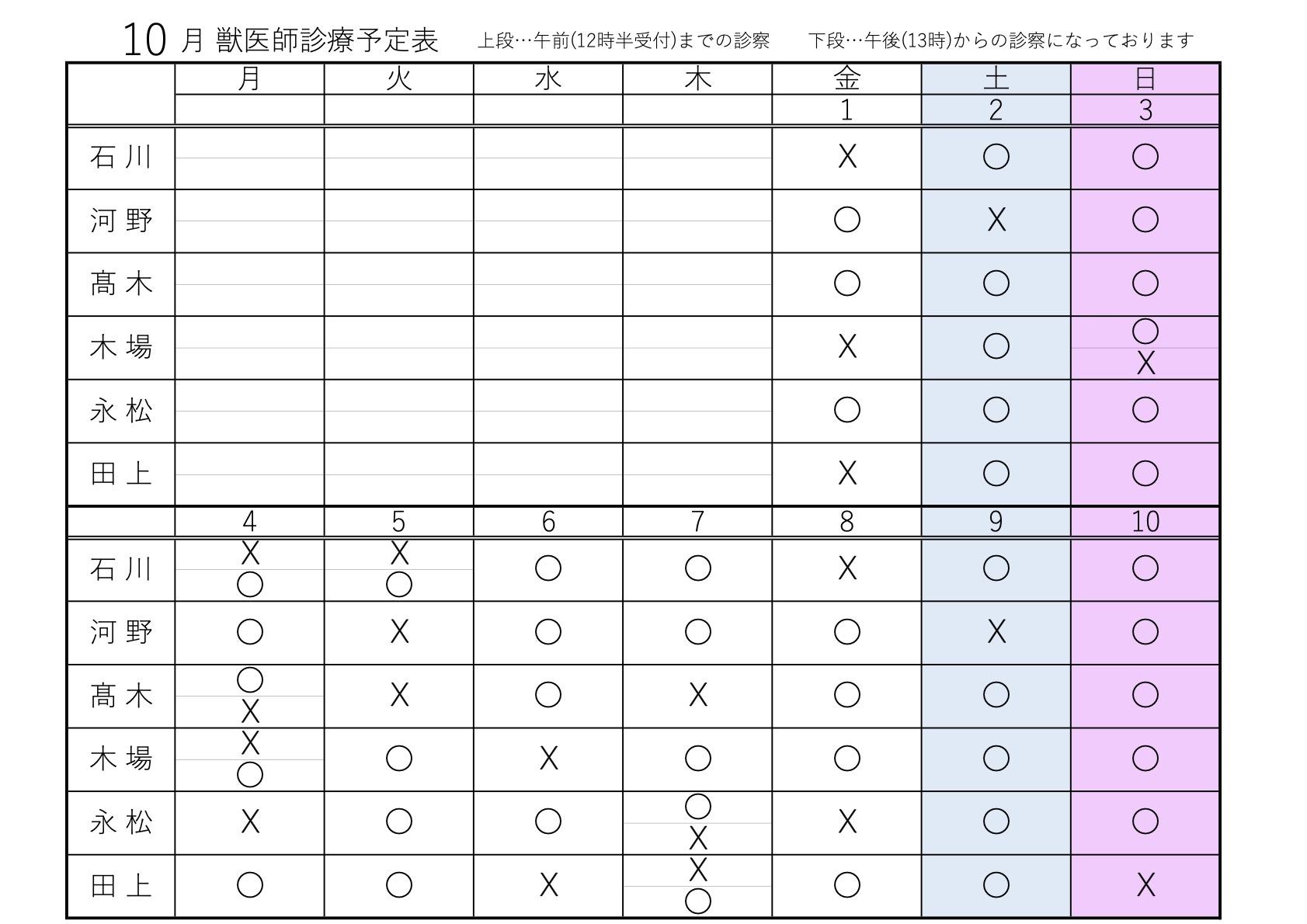 10月1〜10日 獣医師診療予定表
