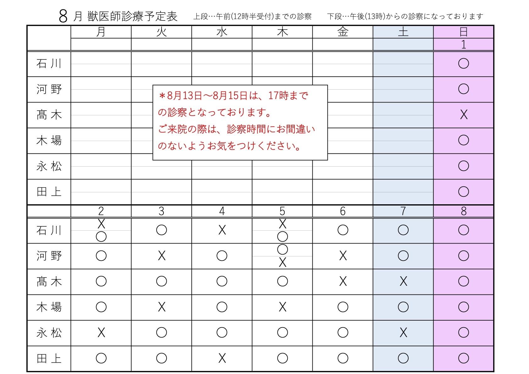 8月1~08日 獣医師診療予定表