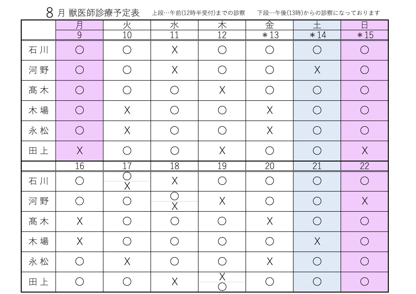 8月09~22日 獣医師診療予定表