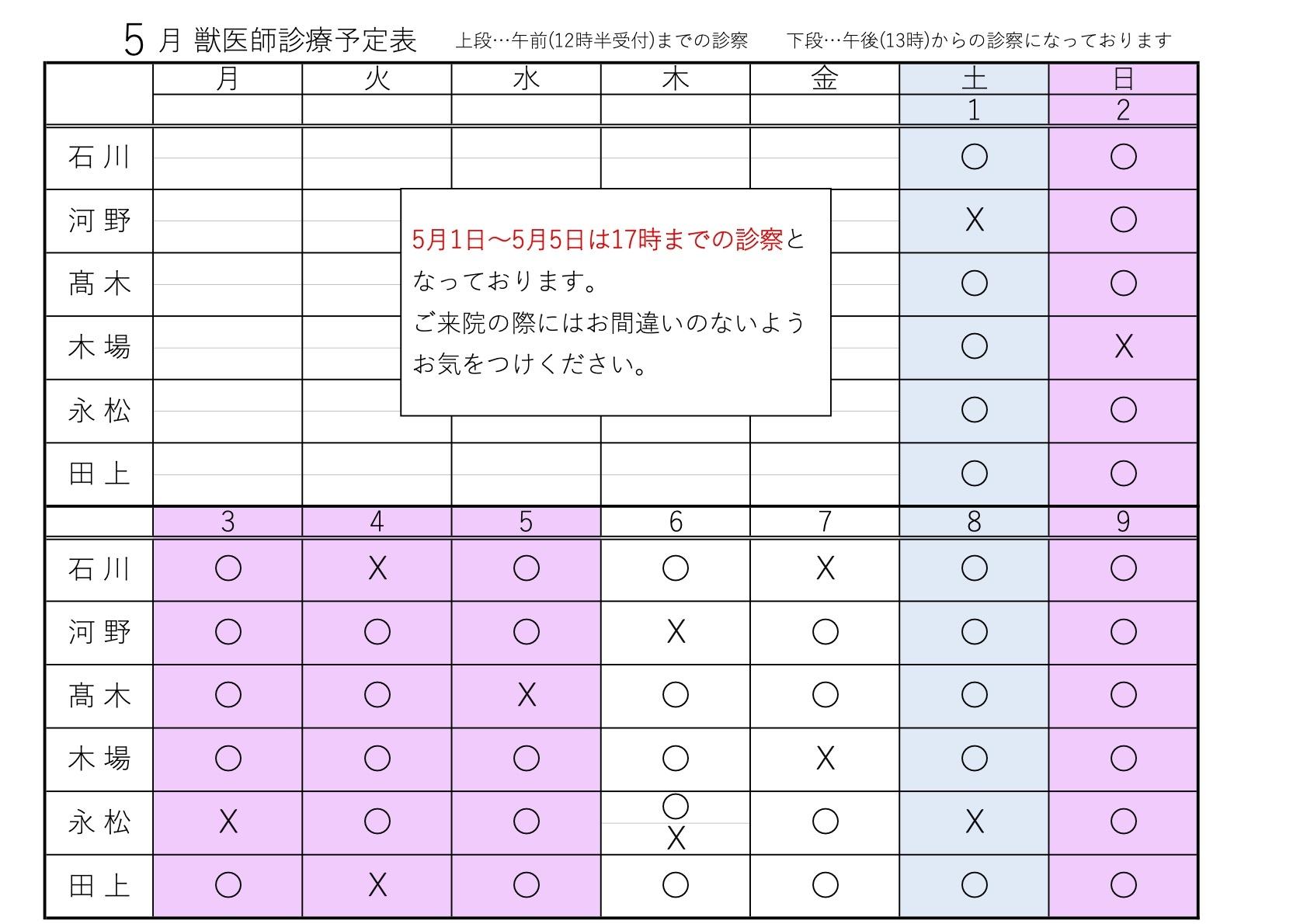 5月1~9日 獣医師診療予定表