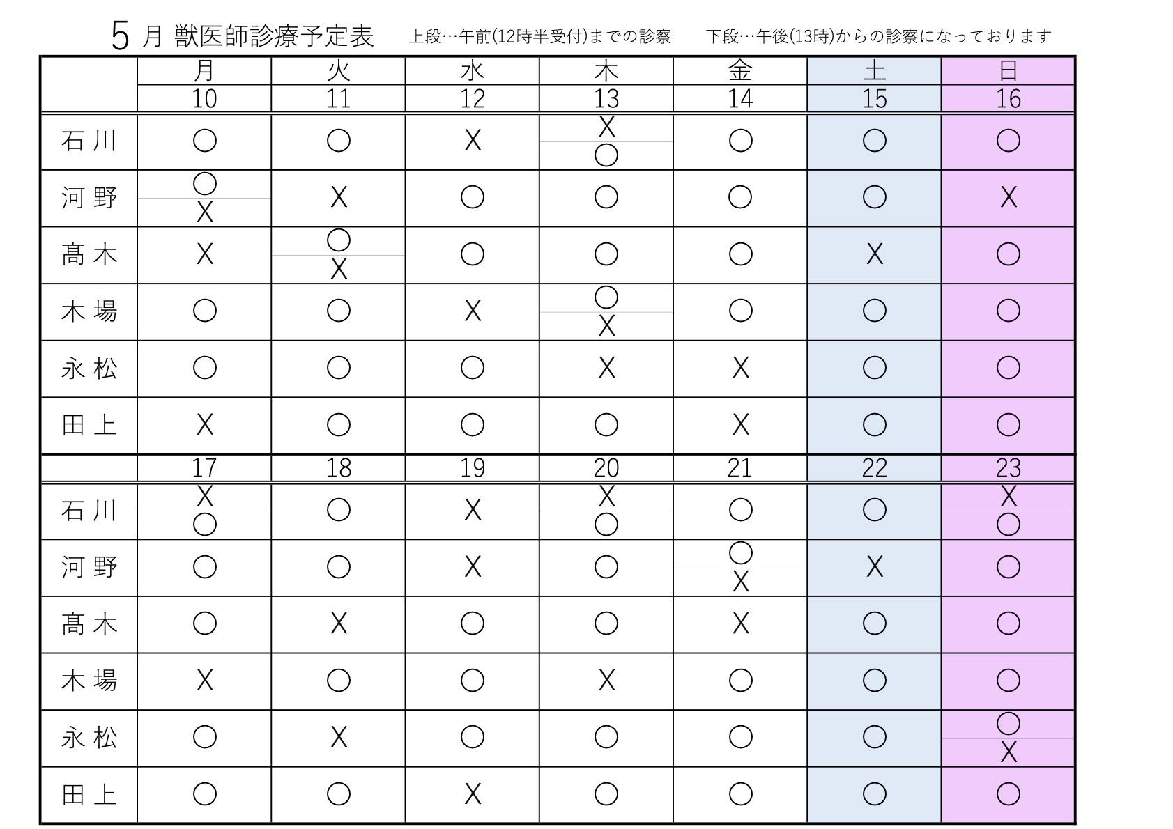 5月10〜23日 獣医師診療予定表